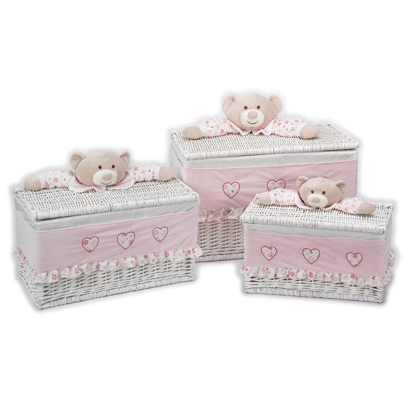 Lelly Peluche Online Store | Cesto portagiochi rettangolare Zerotre set 3 pezzi rosa